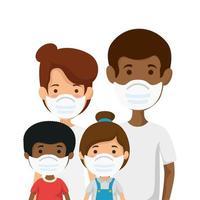 parents avec enfants utilisant un masque facial vecteur