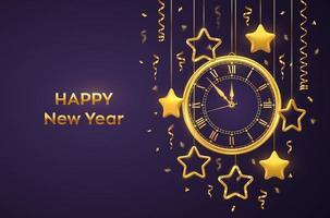 bonne année 2021. montre dorée brillante avec chiffre romain et compte à rebours minuit, veille du nouvel an. fond violet avec des étoiles d'or brillantes. joyeux Noël. vacances de Noël.
