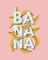 fond tropical, bannière, affiche, carte avec des bananes dessinées à la main vecteur