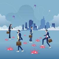 Les gens d'affaires marchant parmi le concept de crise du virus corona trap-coronavirus covid-19 vecteur
