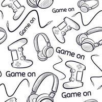 modèle sans couture geek avec manettes de jeu et écouteurs. vecteur