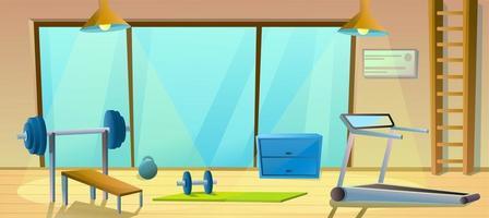 grande salle de gym avec haltères, haltères et tapis roulant. intérieur sport. salle de fitness saine. vecteur