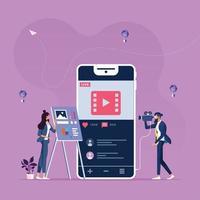 marketing en ligne contenu-médias sociaux et concept de réseau social vecteur
