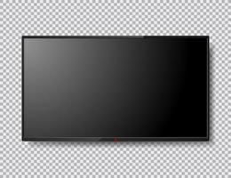 illustration isolée de l'écran de télévision réaliste avec bouton rouge. écran LCD. écran d'ordinateur maquette. Modèle de télévision 4k. vecteur
