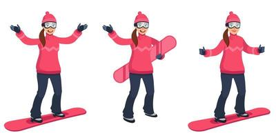 snowboarder dans différentes poses. vecteur