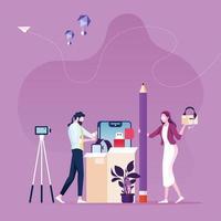 unboxing en ligne - concept de revue de produit vidéo vecteur
