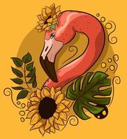 dessin vectoriel floral avec un cou de flamant rose avec des fleurs.