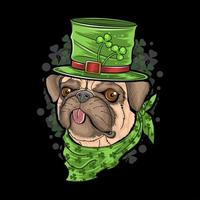st. patrick's day carlin chiot vecteur d'illustration de chien