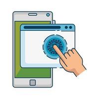 main à l'aide de la recherche en ligne covid 19 sur smartphone vecteur