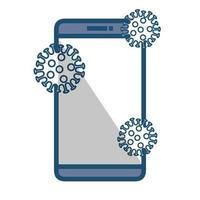 recherche de covid 19 en ligne dans un smartphone vecteur