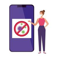 campagne d'arrêt covid 19 en smartphone avec femme vecteur