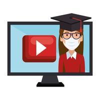 Icône isolée de femme diplômée de l'éducation en ligne vecteur