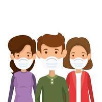 groupe de personnes utilisant des icônes isolées de masque facial