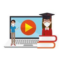 enseignant de sexe masculin enseignant icône isolé en ligne vecteur