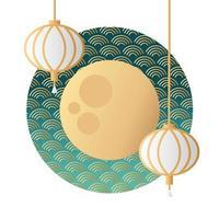 festival de la mi-automne lune et lanternes suspendues vecteur