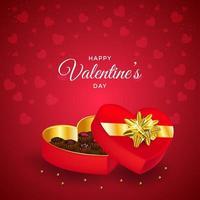 bonne saint valentin avec fond de cadeaux au chocolat vecteur