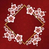belle fleur de cerisier avec cadre en or rouge et motif de fleurs vecteur