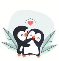 heureux, pingouins, couple, étreindre, vecteur