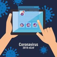 recherche d'informations ncov 2019 en ligne dans une tablette vecteur
