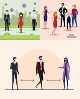 définir des bannières de campagne de distanciation sociale au bureau avec des gens d'affaires vecteur