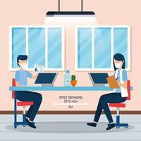 campagne de distanciation sociale au bureau pour covid 19 vecteur