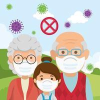 grands-parents avec petite-fille à l'aide d'un masque facial en paysage vecteur