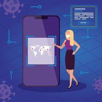 femme d'affaires à la recherche d'informations ncov 2019 en ligne dans un smartphone vecteur