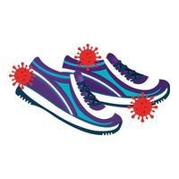 chaussures avec des particules icône isolé covid 19 vecteur
