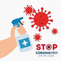 campagne d'arrêt 2019 ncov avec désinfectant pour bouteille vecteur