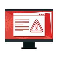 ordinateur avec des informations sur l'icône isolé de covid 19