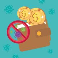 portefeuille et pièces avec particules 2019 ncov