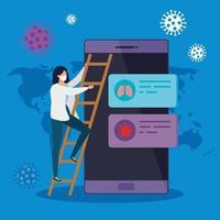 femme et smartphone avec informations covid 19 vecteur