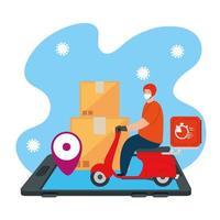 livraison de marchandises lors de la prévention du coronavirus, application logistique pour smartphone avec un courrier utilisant un masque facial en moto vecteur