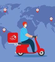 livraison de marchandises lors de la prévention du coronavirus, travailleur de messagerie utilisant un masque facial en moto avec carte du monde vecteur