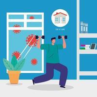 rester à la maison, l'homme pratiquant l'exercice, la quarantaine ou l'auto-isolement vecteur
