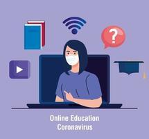 Conseils d'éducation en ligne pour arrêter la propagation du coronavirus covid-19, apprentissage en ligne, étudiante avec ordinateur portable vecteur