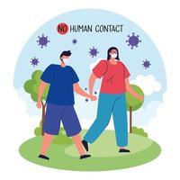 pas de contact humain, couple utilisant un masque facial en paysage vecteur