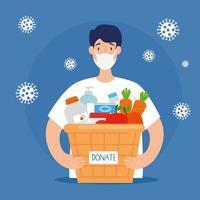homme avec panier de dons nourriture en osier, soins sociaux, volontariat et concept de charité vecteur