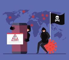 Pirate de personnes avec smartphone et signe d'alerte pendant la pandémie de covid 19 vecteur