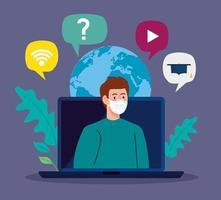Conseils d'éducation en ligne pour arrêter la propagation du coronavirus covid-19, apprendre en ligne, homme avec ordinateur portable vecteur