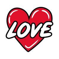 coeur avec mot d'amour, style plat pop art