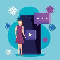 Conseils d'éducation en ligne pour arrêter la propagation du coronavirus covid-19, apprentissage en ligne, femme diplômée avec un smartphone vecteur