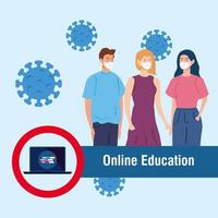 Conseils d'éducation en ligne pour arrêter la propagation du coronavirus covid-19, apprendre en ligne, les jeunes utilisant un masque médical vecteur