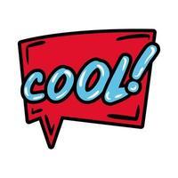 bulle avec expression cool, style plat mot pop art vecteur