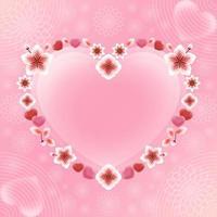 beau cadre en forme de coeur de fleur pour la saint valentin vecteur