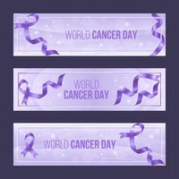 élégant ensemble de bannière de la journée mondiale du cancer violet vecteur