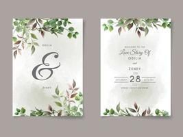 beau modèle de carte d'invitation de mariage floral vecteur