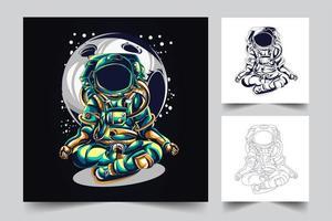 illustration de l'oeuvre de yoga astronaute vecteur