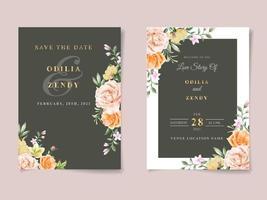 modèle de carte d'invitation de mariage aquarelle floral vecteur