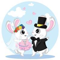 mignons petits lapins amoureux, illustration de la Saint-Valentin du couple de lapins de mariage. tout juste marié. vecteur